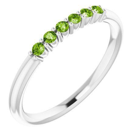 Natural Peridot Ring in Platinum Peridot Stackable Ring