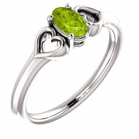 Shop Platinum Peridot Youth Heart Ring
