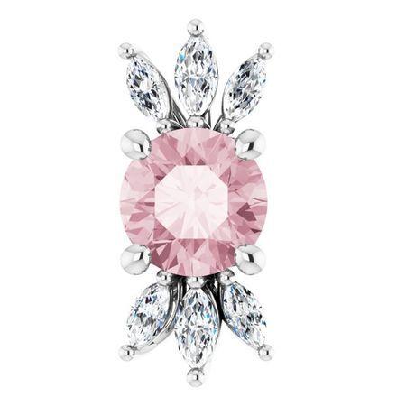 Pink Morganite Pendant in Platinum Pink Morganite & 1/4 Carat Diamond Pendant
