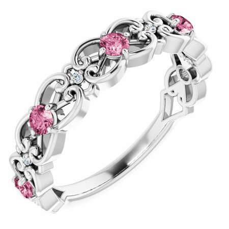Pink Tourmaline Ring in Platinum Pink Tourmaline & .02 Carat Diamond Vintage-Inspired Scroll Ring