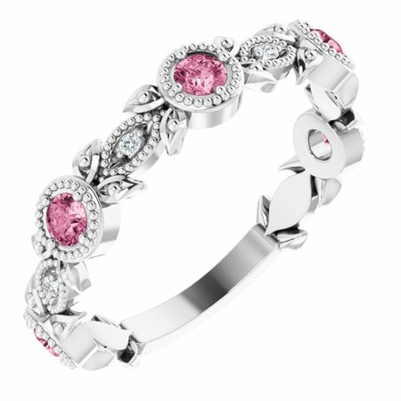 Pink Tourmaline Ring in Platinum Pink Tourmaline & .03 Carat Diamond Leaf Ring