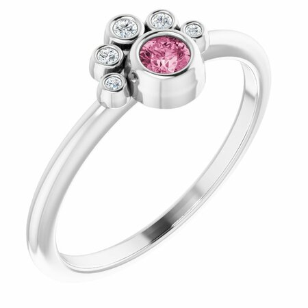 Pink Tourmaline Ring in Platinum Pink Tourmaline & .04 Carat Diamond Ring