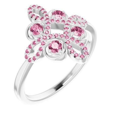Pink Tourmaline Ring in Platinum Pink Tourmaline & 1/6 Carat Diamond Clover Ring