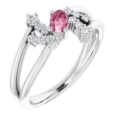 Pink Tourmaline Ring in Platinum Pink Tourmaline & 1/8 Carat Diamond Bypass Ring