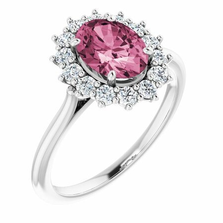 Pink Tourmaline Ring in Platinum Pink Tourmaline & 3/8 Carat Diamond Ring