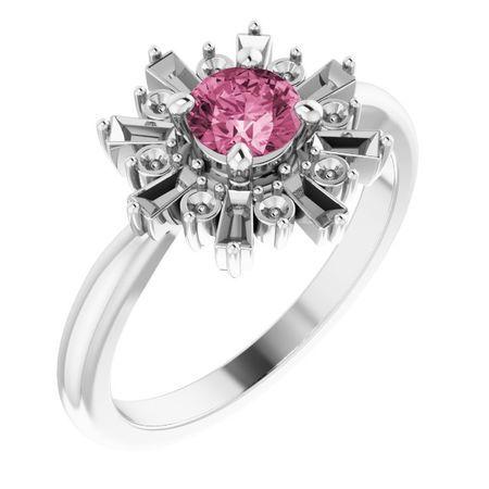 Pink Tourmaline Ring in Platinum Pink Tourmaline & 3/8 Carat Ring