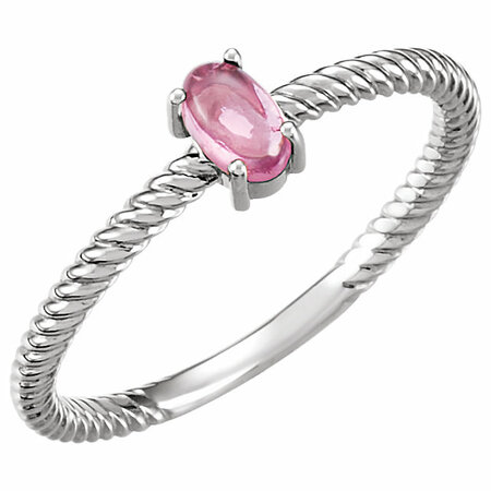 Platinum Pink Tourmaline Cabochon Ring