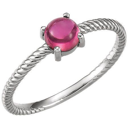 Genuine  Platinum Pink Tourmaline Cabochon Ring