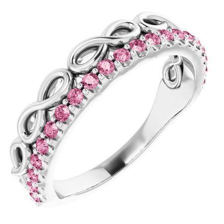 Pink Tourmaline Ring in Platinum Pink Tourmaline Infinity-Inspired Stackable Ring