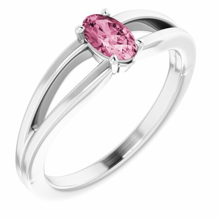 Pink Tourmaline Ring in Platinum Pink Tourmaline Solitaire Youth Ring