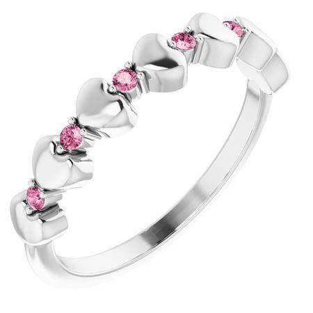 Pink Tourmaline Ring in Platinum Pink Tourmaline Stackable Heart Ring