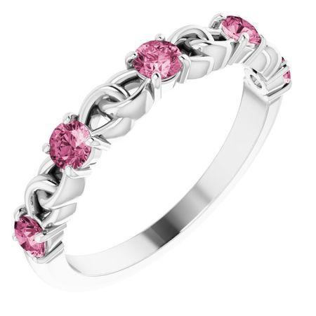 Pink Tourmaline Ring in Platinum Pink Tourmaline Stackable Link Ring