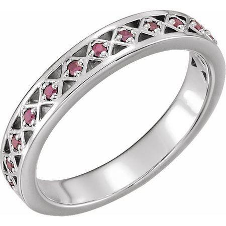 Pink Tourmaline Ring in Platinum Pink Tourmaline Stackable Ring