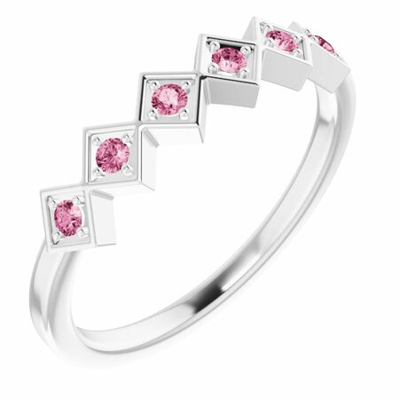 Pink Tourmaline Ring in Platinum Pink Tourmaline Stackable Ring