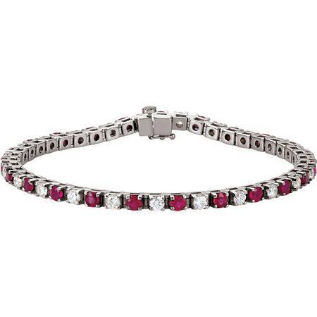 Red Ruby Bracelet in Platinum Ruby & 2 0.40 Carat Diamond 7.25