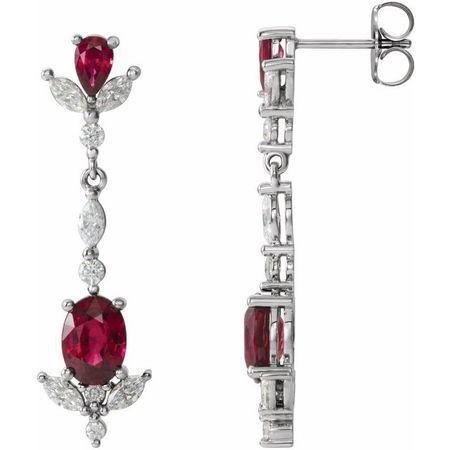 Platinum Ruby & 0.75 Carat Weight Diamond Dangle Earrings