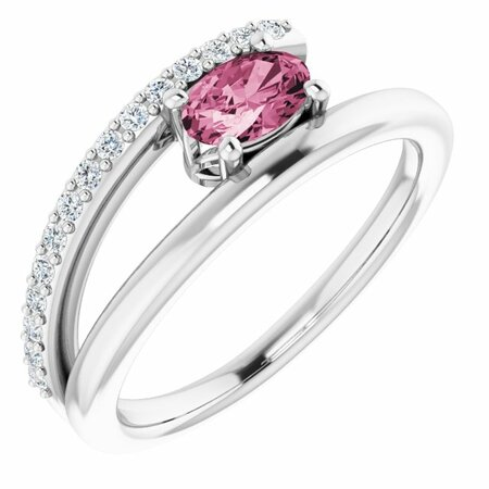 Pink Tourmaline Ring in Platinum Tourmaline & 1/8 Carat Diamond Ring
