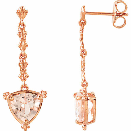 Pink Morganite Earrings in Post Back Dangle 14 Karat Rose Gold Trillion Cut 7mm 0.980 Carat Morganite Earrings