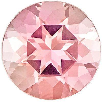 Pretty Genuine Pink Tourmaline Gem in Round Cut, 7 mm in Gorgeous Peach Tinged Pink, 1.27 carats