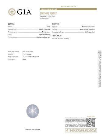 Rare Quality Blue Star Sapphire Gemstone, 19.15 carats, GIA Certified in Oval Shape, 14.4 x 13.25 x 9.73 mm, Super Fine Gem!