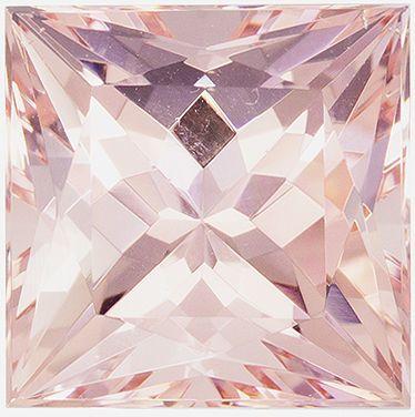 Rare Stone in 10 mm Morganite Loose Genuine Gemstone in Princess Cut, Light Peach, 5.23 carats