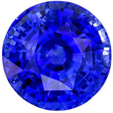 Rare Stone in 9.9 mm Sapphire Loose Gemstone in Round Cut, Medium Blue, 5.2 carats