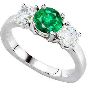 Ravishing 3-Stone Engagement Ring With Round Low Price on GEM 1.30 carat 7mm Emerald Center & Round Diamond Side Gems