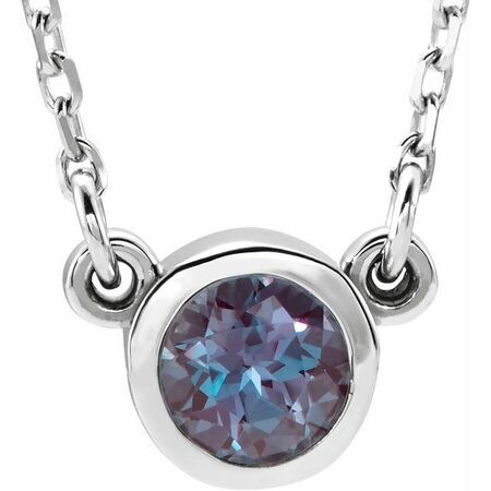 Natural Alexandrite Pendant in Rhodium-Plated Sterling Silver 3 mm Round Alexandrite Solitaire 16