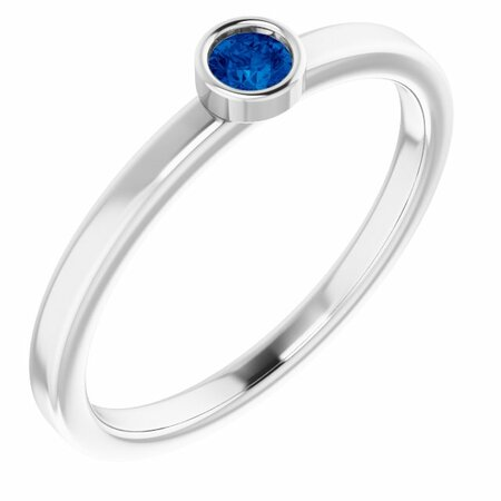 Rhodium-Plated Sterling Silver 3 mm Round Grown Blue Sapphire Ring