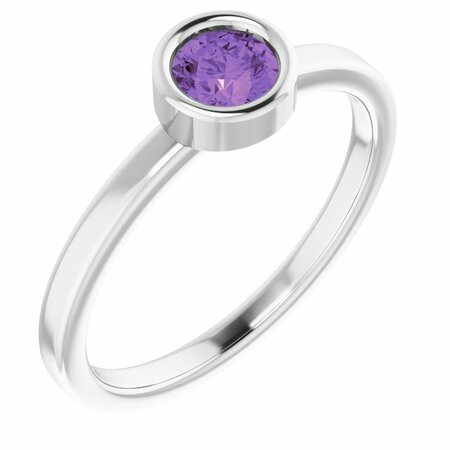 Rhodium-Plated Sterling Silver 4.5 mm Round Amethyst Ring