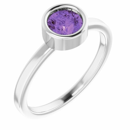 Rhodium-Plated Sterling Silver 5.5 mm Round Amethyst Ring