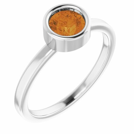Rhodium-Plated Sterling Silver 5.5 mm Round Citrine Ring