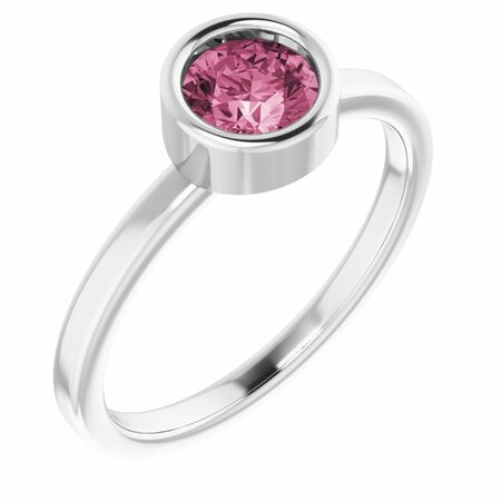 Pink Tourmaline Ring in Rhodium-Plated Sterling Silver 5.5 mm Round Pink Tourmaline Ring