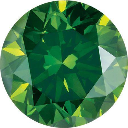 Round Cut Dark Green Genuine Enhanced Diamonds