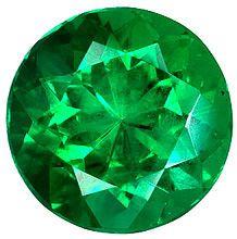 Round Diamond Cut Genuine Emerald in Grade AAA