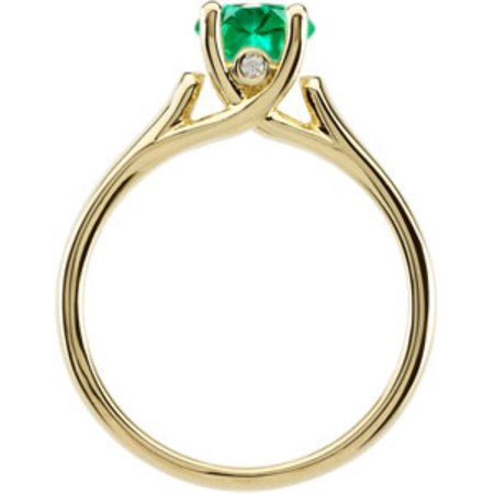 Simply Breathtaking Bright Vivid 1 carat Natural GEM 6mm Emerald Solitaire Gemstone Ring With Chunky 14k Gold Band