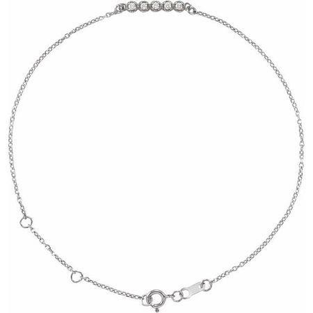 Sterling Silver.07 CTW Diamond Bar 6 1/2-7 1/2