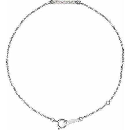 Sterling Silver .07 Carat Weight Diamond Bar 6.5-71/2