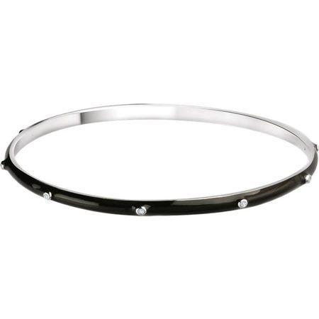 Fine Quality Sterling Silver 0.10 Carat Total Weight Diamond Black Enamel Bangle Bracelet