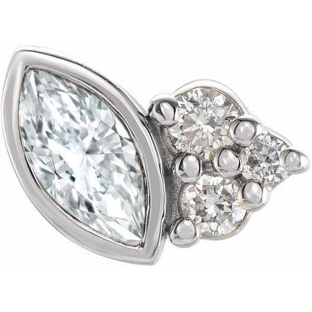Natural Diamond Earrings in Sterling Silver 1/10 Carat Diamond Left Earring