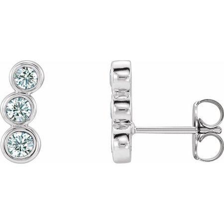 Natural Diamond Earrings in Sterling Silver 1/2 Carat Diamond Ear Climbers