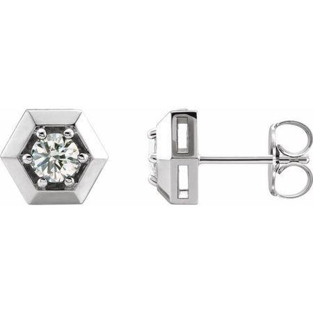 Natural Diamond Earrings in Sterling Silver 1/2 Carat Diamond Geometric Earrings