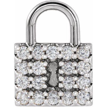 Real Diamond Pendant in Sterling Silver 1/2 Carat Diamond Lock Pendant