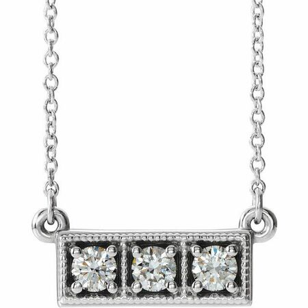 Real Diamond Necklace in Sterling Silver 1/3 Carat Diamond Three-Stone Granulated Bar 16-18