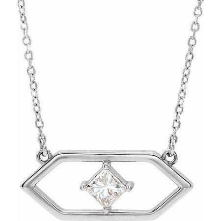 Real Diamond Necklace in Sterling Silver 1/4 Carat Diamond Geometric 18