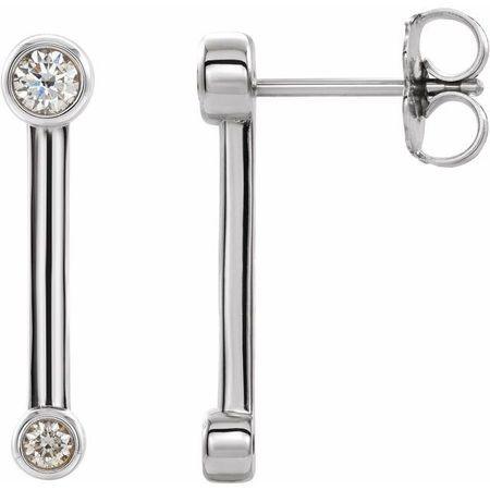 Natural Diamond Earrings in Sterling Silver 1/5 Carat Diamond Bezel-Set Bar Earrings