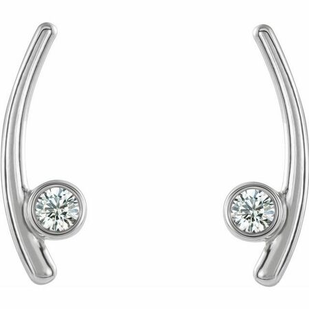 Natural Diamond Earrings in Sterling Silver 1/5 Carat Diamond Ear Climbers