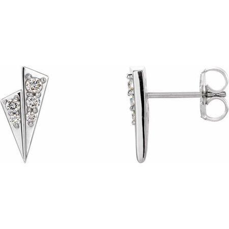 Natural Diamond Earrings in Sterling Silver 1/6 Carat Diamond Geometric Earrings