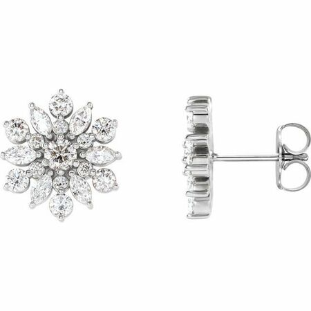 Natural Diamond Earrings in Sterling Silver 1 Carat Diamond Earrings