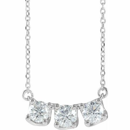 Genuine Diamond Necklace in Sterling Silver 1 Carat Diamond Three-Stone Curved Bar 16